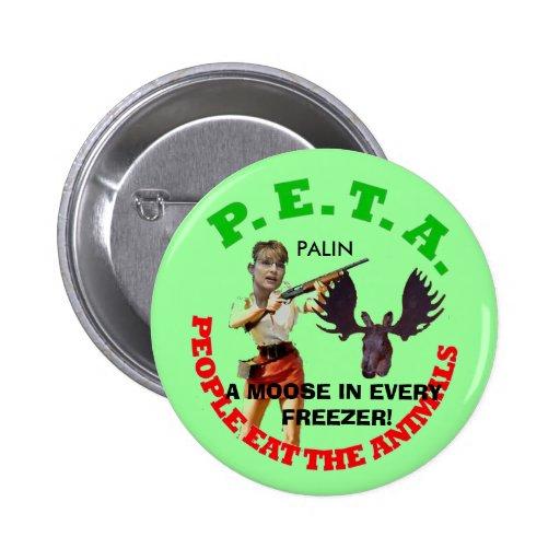 PETA, gray circle, young gun white... - Customized Button