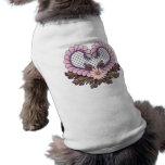 Petal Mesh Heart Pink Dog T-shirt