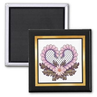 Petal Mesh Heart Pink Magnet