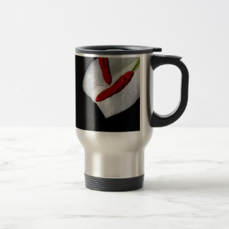 petal of a lily with red stamen travel mug