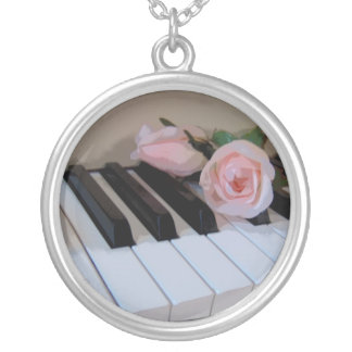 Petal Pink Keys Silver Plated Necklace