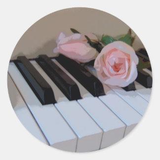Petal Pink Keys Round Stickers