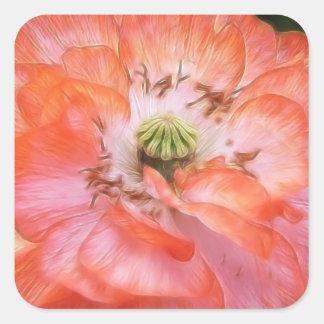 Petal Power - Ruffled Poppy Square Sticker