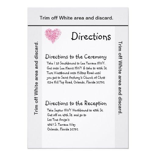 pétalo floral del rosa de la tarjeta de las invitación 12,7 x 17,8 cm