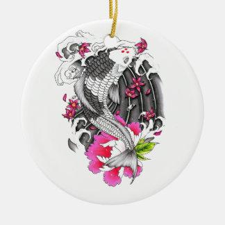 Pétalo rosado gris japonés oriental fresco de Koi Adorno Redondo De Cerámica