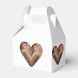 pétalos color de rosa del corazón caja para regalo de boda