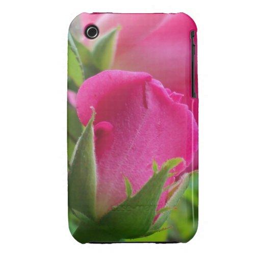 Pétalos color de rosa rosados del brote iPhone 3 cobertura