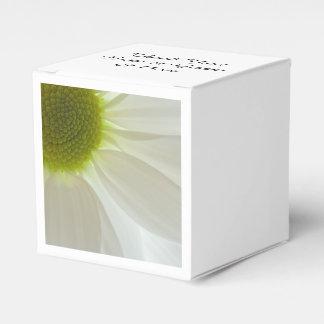Pétalos de la margarita blanca que casan la caja caja para regalos