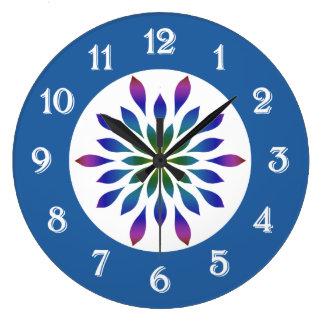 Pétalos del pavo real florales reloj redondo grande