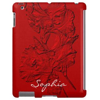 Pétalos esculpidos del iris, caja Roja-Ipad Funda Para iPad