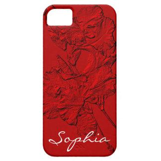 Pétalos esculpidos del iris, caja Roja-iPhone 5/5s Funda Para iPhone 5 Barely There