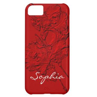 Pétalos esculpidos del iris, caja Roja-iPhone 5c Funda Para iPhone 5C