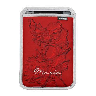 Pétalos esculpidos del iris, mini manga Roja-iPad Fundas De iPad Mini