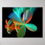 Pétalos metálicos coloridos de la flor poster