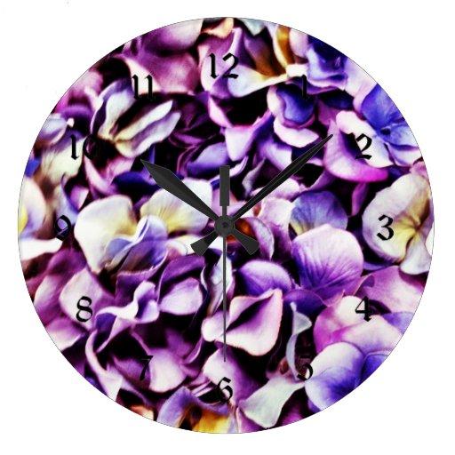 Pétalos púrpuras de la flor del Hydrangea de la Reloj Redondo Grande