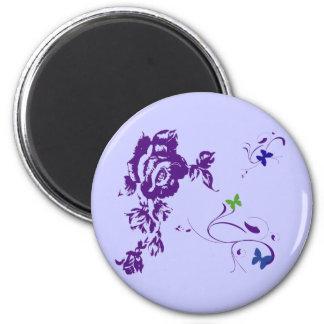 Pétalos púrpuras imán redondo 5 cm