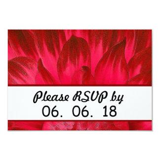 """Pétalos rojos imponentes X03B de la dalia del boda Invitación 3.5"""" X 5"""""""