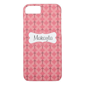 Petals and Crosses in Pink Personalize iPhone 8/7 Case