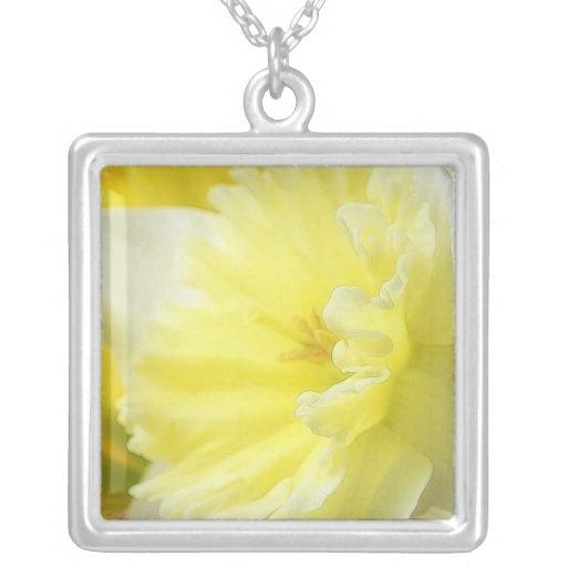 Petals - Daffodil Detail Square Pendant Necklace