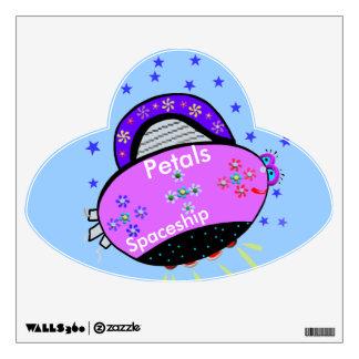 Petals Spaceship Smiling Pink Purple UFO Decal
