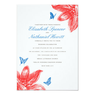 Petals & Wings Wedding Invitation in Red Blue