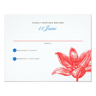 Petals & Wings Wedding RSVP in Red Blue 4.25x5.5 Paper Invitation Card