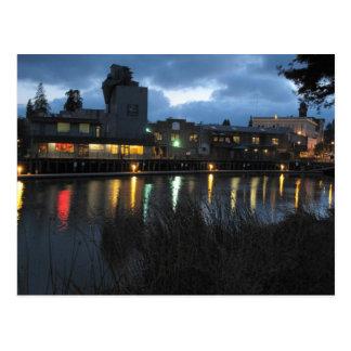 Petaluma Turning Basin at Night   Postcard
