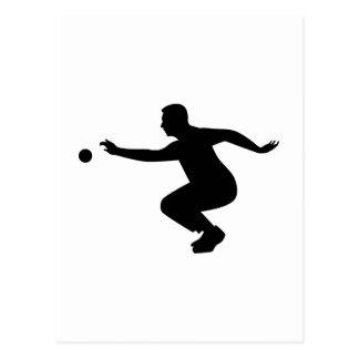 Petanque player postcard