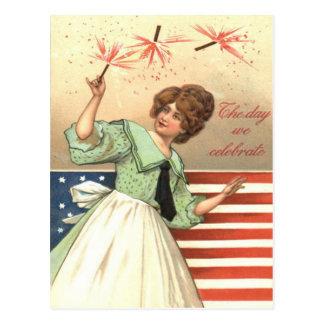 Petardo de los fuegos artificiales de la bandera postales