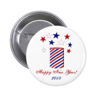 Petardo: Felices Año Nuevo de botón Pin Redondo De 2 Pulgadas