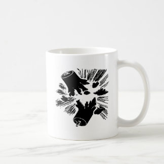 Petardos negros taza básica blanca