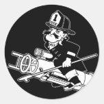 Pete contraincendios - blanco y negro etiqueta redonda