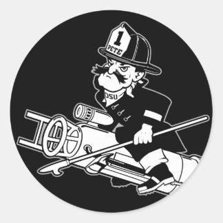 Pete contraincendios - blanco y negro pegatina redonda