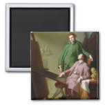 Peter and James Romney, 1766 (oil on canvas) 2 Inch Square Magnet