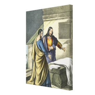 Peter and John at the Sepulchre, from a bible prin Canvas Print