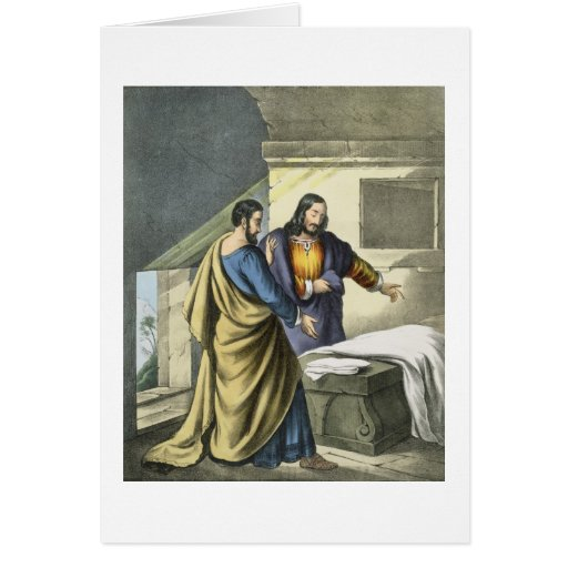 Peter and John at the Sepulchre, from a bible prin Card