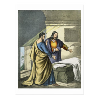 Peter and John at the Sepulchre, from a bible prin Postcard