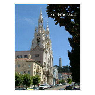 Peter and Paul Church and the Coit tower Postcard