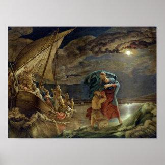 Peter camina en el agua, 1806 posters
