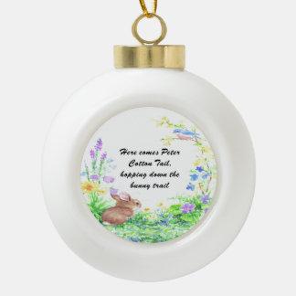 Peter Cotton Tail - Ceramic Ball Christmas Ornament
