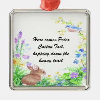 Peter Cotton Tail - Square Metal Christmas Ornament