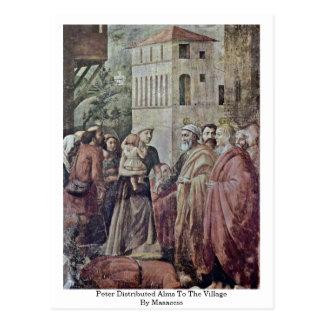 Peter distribuyó limosnas al pueblo por Masaccio Postal