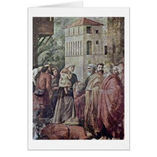 Peter distribuyó limosnas al pueblo por Masaccio Tarjeta De Felicitación