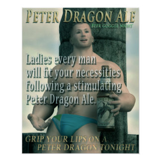 Peter Dragon Ale Grip your lips Print