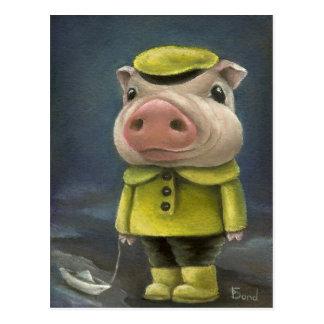Peter el cerdo que navega su barco postales