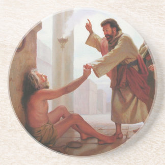 Peter Heals the Lame Man Stone Coaster