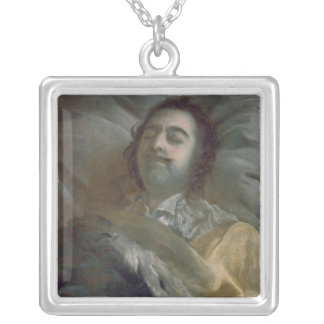Peter I  the Great on his Deathbed, 1725 Silver Plated Necklace