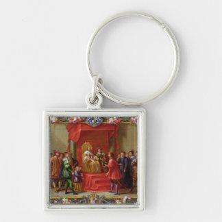 Peter IV, rey de Aragón Llavero Cuadrado Plateado