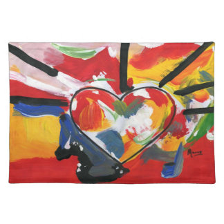 Peter Max artwork style Heart American MoJo Placem Cloth Placemat