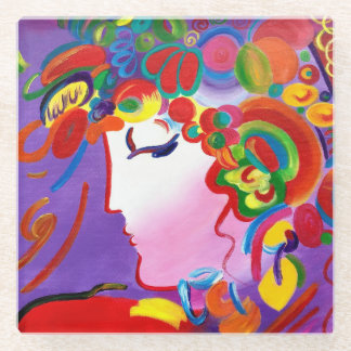 Peter Max inspired Blushing Beauty Glass Coaster